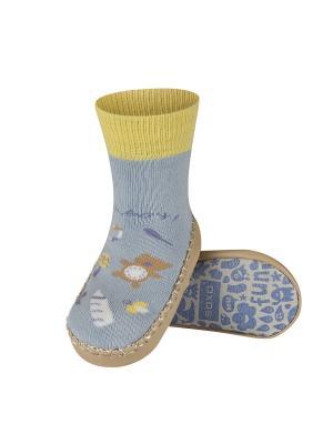 Тапочки-носочки Soxo. Цвет: голубой, бежевый