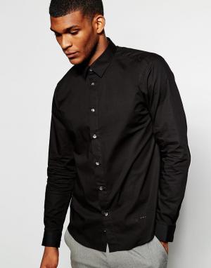 Wincer & Plant Облегающая строгая рубашка из эластичного хлопка. Цвет: черный
