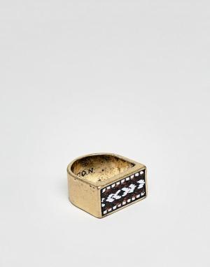 Icon Brand Золотистое кольцо-печатка со вставкой из узорчатой ткани. Цвет: золотой
