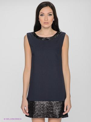 Платье LUIGI FERRO. Цвет: синий, бежевый, белый
