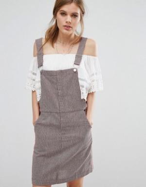 Suncoo Платье-сарафан в тонкую полоску. Цвет: красный