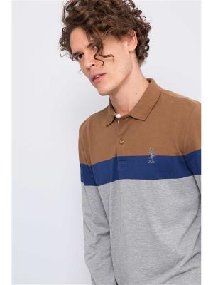 Лонгслив U.S. Polo Assn.. Цвет: серый, коричневый, синий