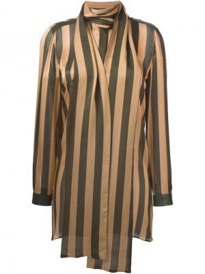 Полосатая блузка с деталью в виде шарфа Petar Petrov. Цвет: зелёный