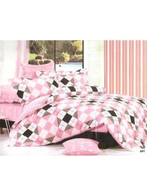 Комплект постельного белья Поплин Евро Арт La Pastel. Цвет: розовый, черный, серый