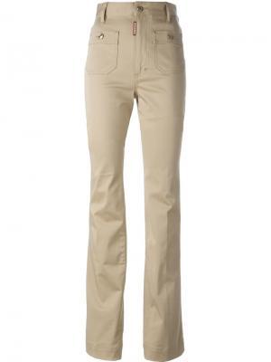 Расклешенные брюки с завышенной талией Dsquared2. Цвет: телесный