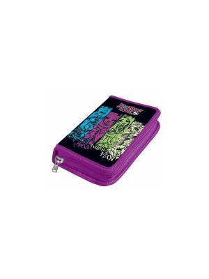 Пенал 1 отделение, Monster High без наполнения Mattel. Цвет: черный, фиолетовый