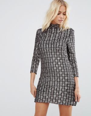 Goldie Цельнокройное платье с отделкой пайетками Alexa. Цвет: серый