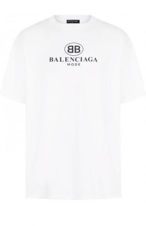 Хлопковая футболка с логотипом бренда Balenciaga. Цвет: белый