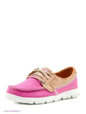 Мокасины SKECHERS. Цвет: розовый, белый, бежевый