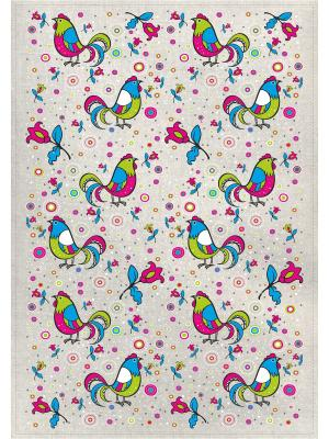 Полотенца Петушки на полянке, 2 шт., с петелькой GrandStyle. Цвет: голубой, малиновый, желтый