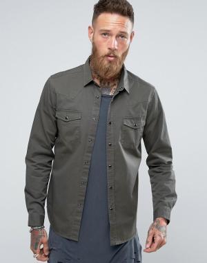 ASOS Джинсовая рубашка хаки в стиле вестерн классического кроя. Цвет: зеленый