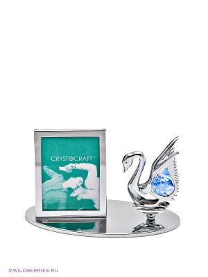 Фоторамка Лебедь CRYSTOCRAFT. Цвет: серебристый, голубой