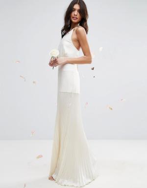 ASOS Платье макси с плиссированной юбкой BRIDAL. Цвет: кремовый