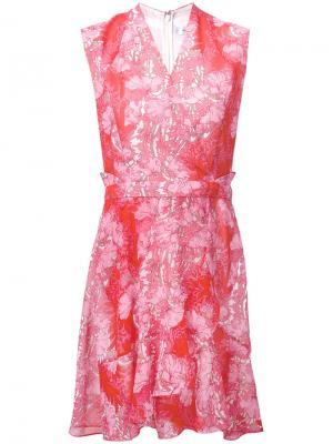 Платье с цветочным кружевом Carven. Цвет: розовый и фиолетовый
