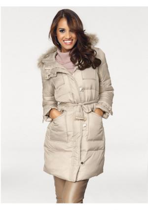 Стеганое пальто PATRIZIA DINI. Цвет: песочный