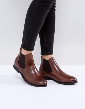 Selected Кожаные ботинки челси. Цвет: коричневый