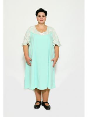 Ночная сорочка EVGENIA STYLE. Цвет: светло-зеленый, светло-бежевый