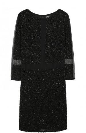 Приталенное мини-платье с укороченными рукавами Basix Black Label. Цвет: черный