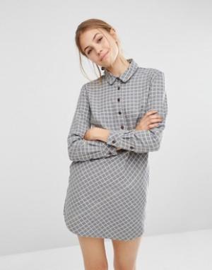 People Tree Платье-рубашка из ткани шамбре. Цвет: серый
