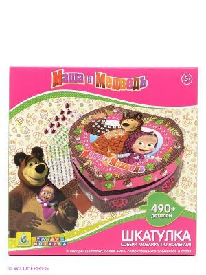 Мозаика-шкатулка Маша и Медведь The ORB factory. Цвет: коричневый, фуксия
