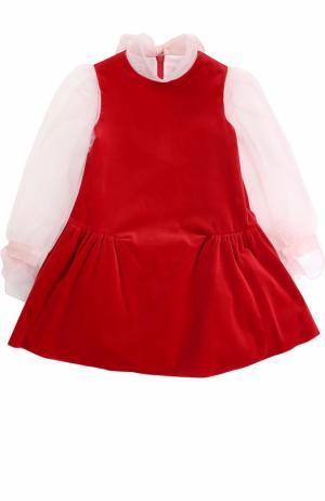 Хлопковое мини-платье с бантами I Pinco Pallino. Цвет: красный