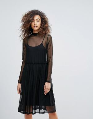 Gestuz Двухслойное платье с высоким воротом. Цвет: черный