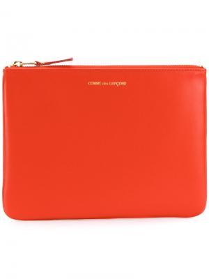 Кошелек с логотипом Comme Des Garçons Wallet. Цвет: жёлтый и оранжевый