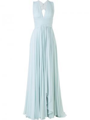 Плиссированное вечернее платье с вырезом Zuhair Murad. Цвет: синий