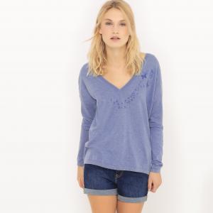 Пуловер с V-образным вырезом и декольте сзади SUD EXPRESS. Цвет: синий