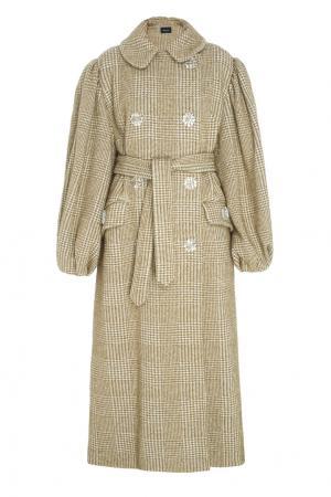 Пальто из хлопка и шерсти Simone Rocha. Цвет: хаки