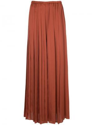 Плиссированные брюки палаццо Aula. Цвет: коричневый