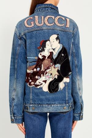 Куртка из вареного денима Gucci. Цвет: none