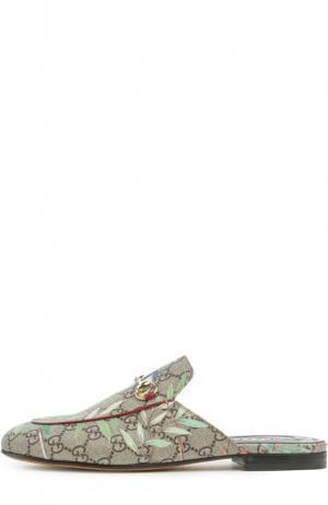 Текстильные сабо Princetown с принтом Gucci. Цвет: разноцветный