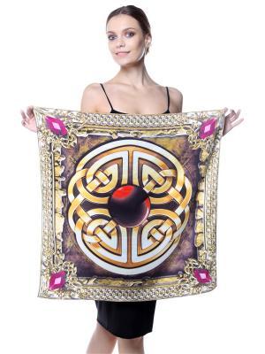Платок шелк Драгоценности Инков рубиново-аметистово-золотые SEANNA. Цвет: черный