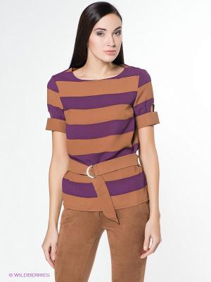 Блуза ZARINA. Цвет: фиолетовый, коричневый