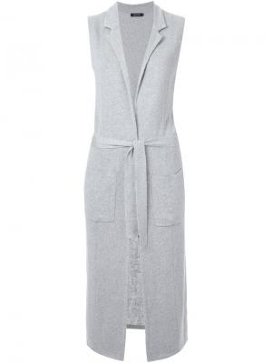 Удлиненный жилет Loveless. Цвет: серый