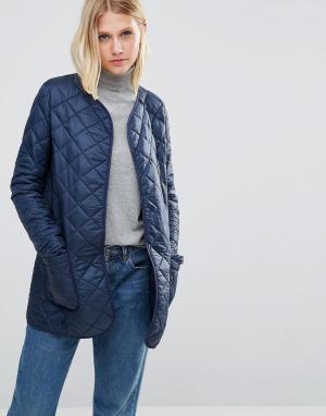 Cooper & Stollbrand Темно-синяя стеганая куртка-пилот. Цвет: темно-синий