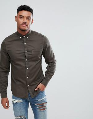ASOS Эластичная джинсовая рубашка узкого кроя. Цвет: зеленый
