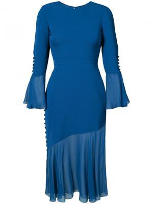 Платье с оборками Prabal Gurung. Цвет: синий