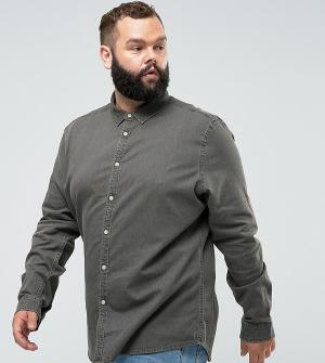 ASOS Серая джинсовая рубашка зауженного кроя PLUS. Цвет: серый