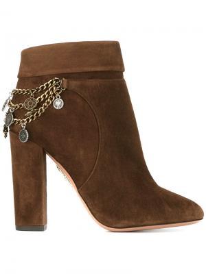 Декорированные ботинки Aquazzura. Цвет: коричневый