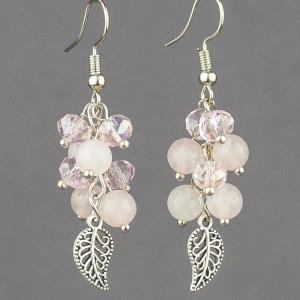 Серьги гроздь розовый кварц, хрусталь Бусики-Колечки