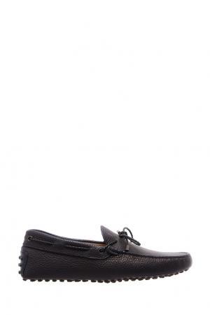 Черные мокасины с плетеным шнурком Tod's. Цвет: черный