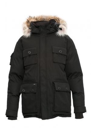 Парка-пуховик с капюшоном и мехом койота 152465 Nobis. Цвет: черный