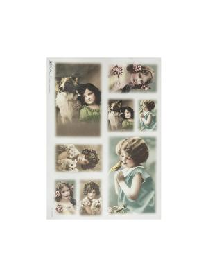 Декупажная карта 32*45 девочки ретро-фото Idigo. Цвет: бирюзовый, коричневый