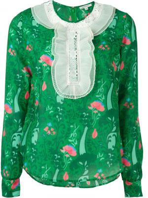 Блузка с цветочным принтом Manoush. Цвет: зелёный