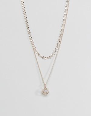 ASOS Многоярусное ожерелье с подвеской. Цвет: медный