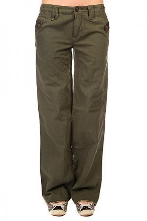 Штаны прямые женские  Armored Pant Army Fatique Zoo York. Цвет: зеленый