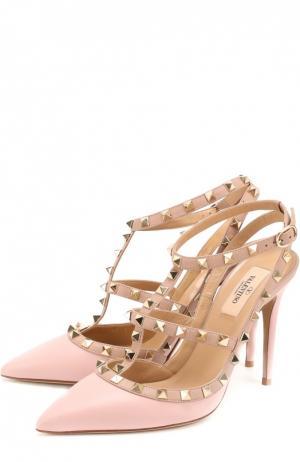 Кожаные туфли Rockstud с ремешками Valentino. Цвет: розовый