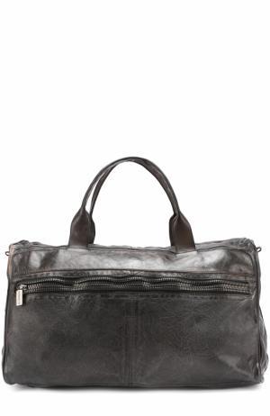 Кожаная дорожная сумка с внешним карманом на молнии Numero 10. Цвет: черный